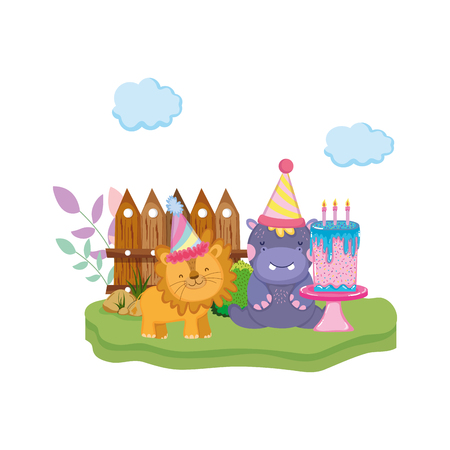 little lion and hippo with party hat vector illustration design