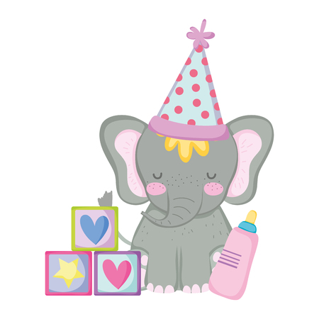 cute and little elephant with party hat vector illustration design