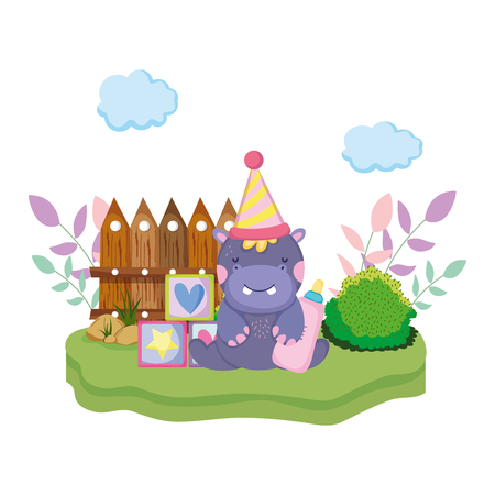 cute and little hippo character with party hat vector illustration design