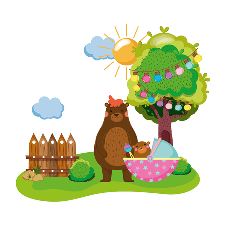 cute and little bear and baby vector illustration design