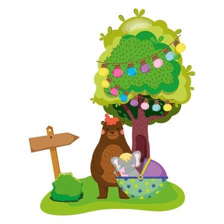 cute and little elephant character vector illustration design Ilustração