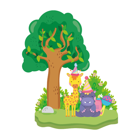 little giraffe and hippo with party hats vector illustration design