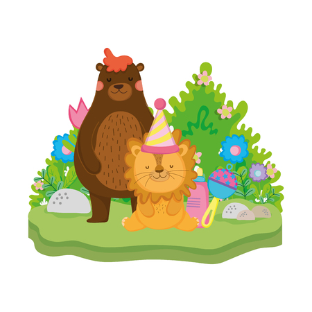 cute and little lion with party hat vector illustration design