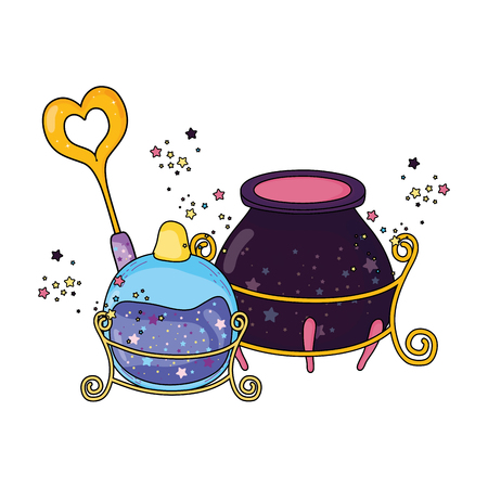 magic witch cauldron with potion bottle and wand vector illustration design