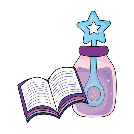 magic potion bottle with book vector illustration design