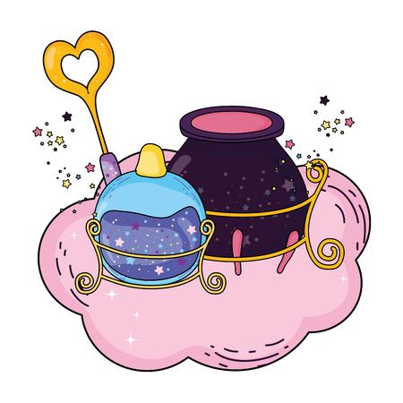 magic witch cauldron with potion bottle vector illustration design