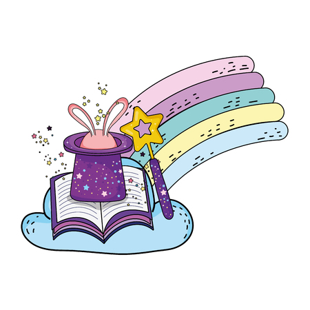 fairytale magic hat with rabbit ears and book vector illustration design