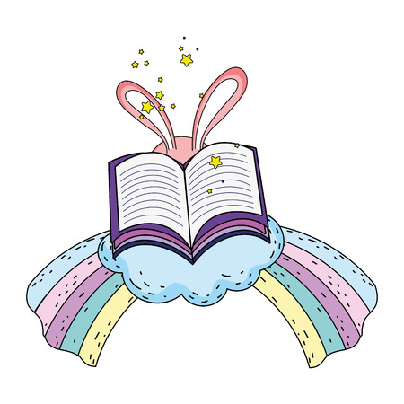 magic rabbit ears with book and rainbow vector illustration design