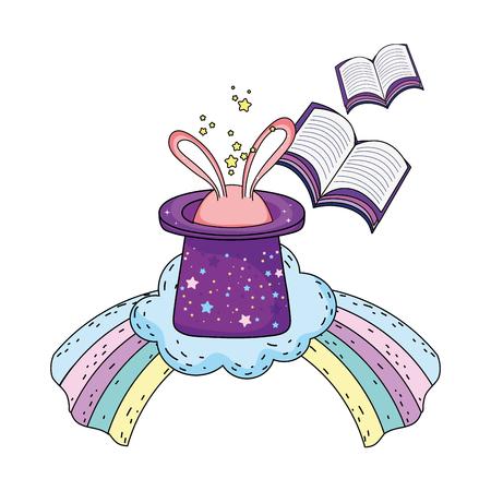 fairytale magic hat with rabbit ears and rainbow vector illustration design Ilustración de vector