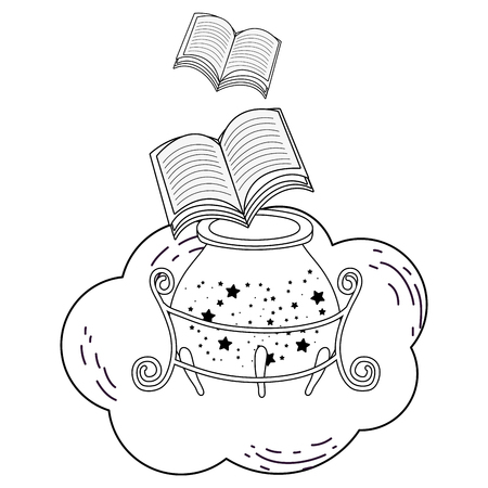 magic witch cauldron with book vector illustration design