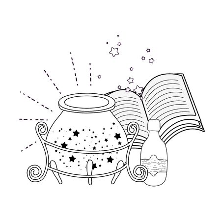 magic witch cauldron with potion bottle and book vector illustration design