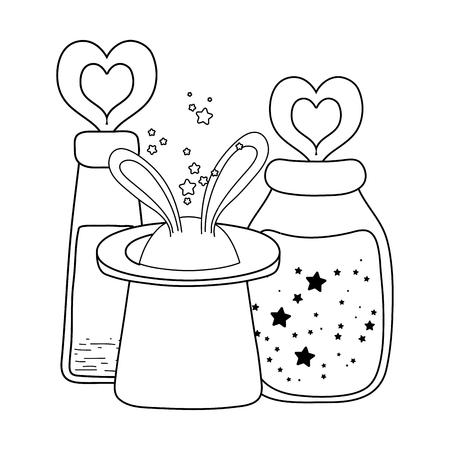 Sombrero mágico de cuento de hadas y botella de poción, diseño de ilustraciones vectoriales Ilustración de vector