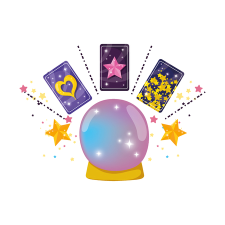 fairytale crystal ball with fortune cards vector illustration design