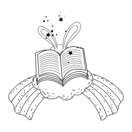magic rabbit ears with book vector illustration design Vector Illustratie