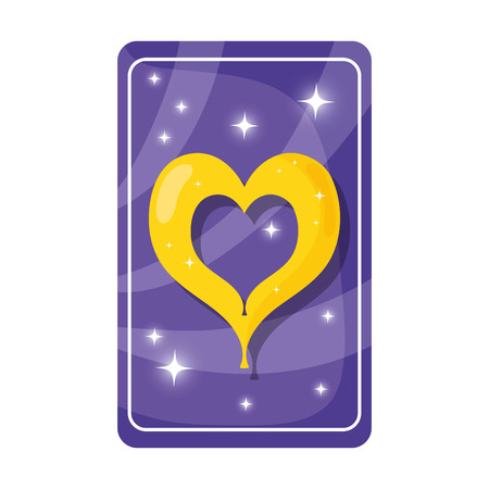divination card with heart vector illustration design