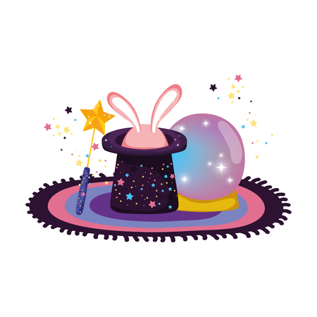 fairytale crystal ball with hat and ears rabbit vector illustration design