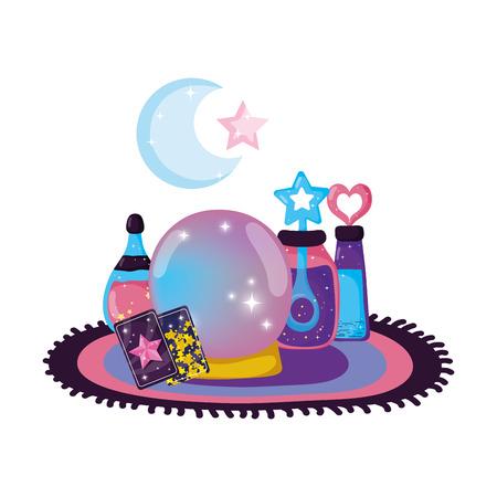 fairytale crystal ball with potion bottles vector illustration design Illustration
