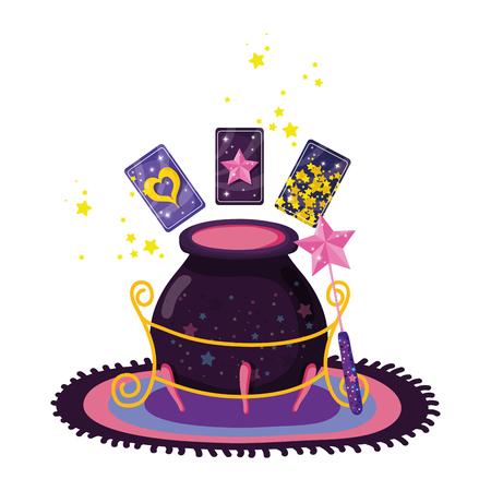 divination cards with witch cauldron vector illustration design Vektorové ilustrace