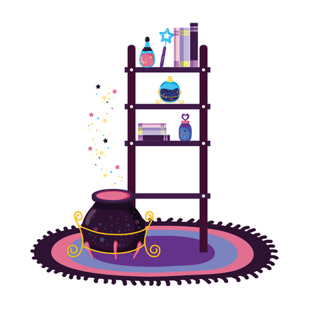 shelving with magic potion bottles and witch cauldron vector illustration