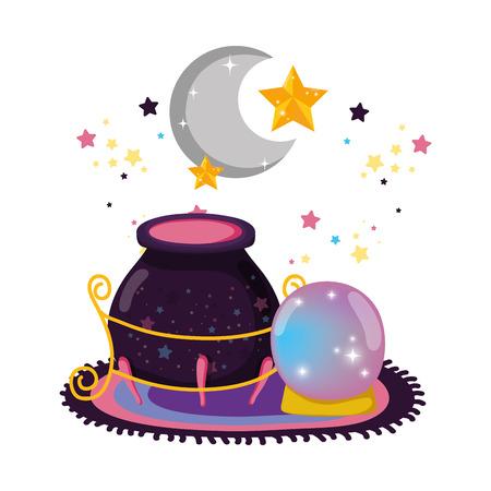 fairytale crystal ball with witch cauldron vector illustration design Vecteurs
