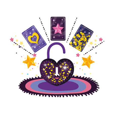 divination cards and padlock with heart shape vector illustration design