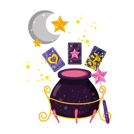 Tarjetas de adivinación con caldero de brujas, diseño de ilustraciones vectoriales