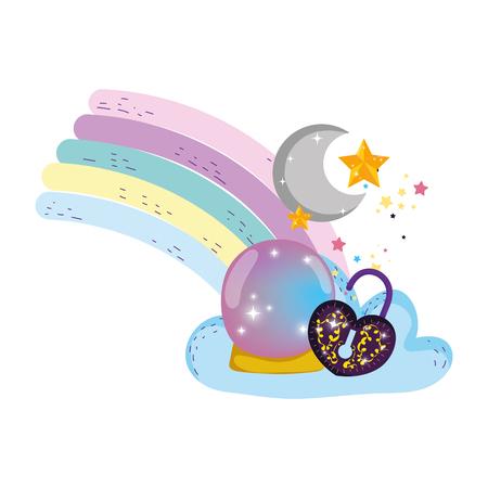 fairytale crystal ball and padlock with heart shape vector illustration design