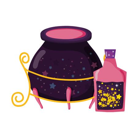 magic potion bottle with witch cauldron vector illustration design Illustration