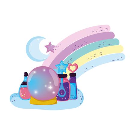 fairytale crystal ball with potion bottles vector illustration design
