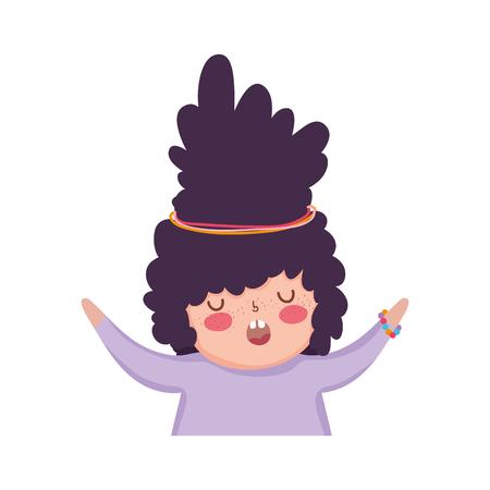 Little chubby girl character vector illustration design Illustration
