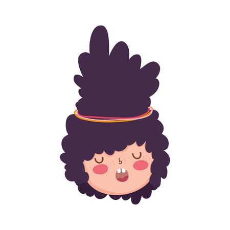Little chubby girl head character vector illustration design Illustration