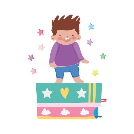 little chubby boy with books vector illustration design Illustration