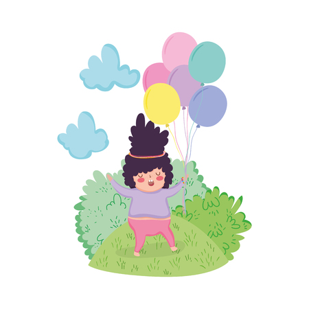 Little chubby girl with balloons air in the landscape vector illustration design