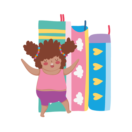 Little chubby girl with pile books vector illustration design
