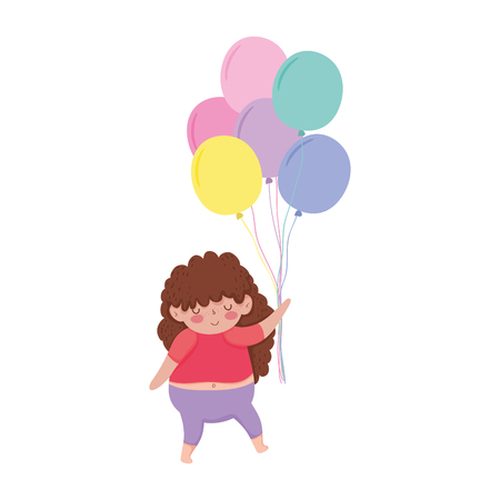 Little chubby girl with balloons air vector illustration design Illustration