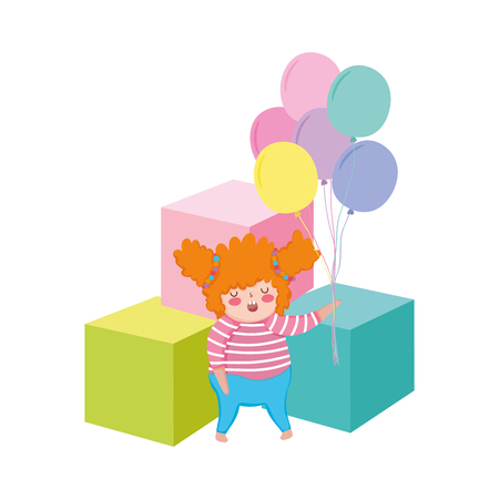 Little chubby girl with balloons air and blocks vector illustration design