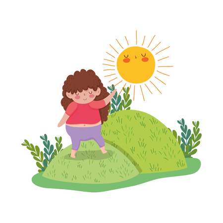 Little chubby girl in the landscape vector illustration design Illustration