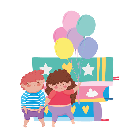 little chubby couple with balloons helium and books vector illustration design