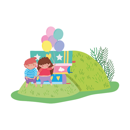 chubby couple with balloons helium and books in the field vector illustration Illustration
