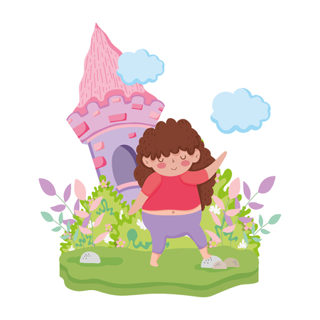 Little chubby girl in the landscape vector illustration design 向量圖像