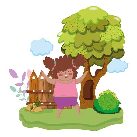 Little chubby girl in the landscape vector illustration design Illustration