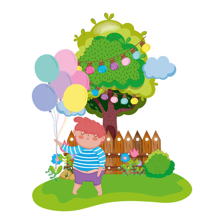 little chubby boy in the landscape vector illustration design