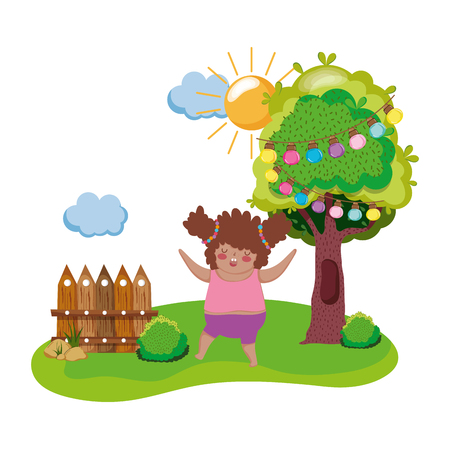 Little chubby girl in the landscape vector illustration design Ilustrace