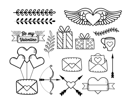 set heart with wings and presents gifts with arrows vector illustration