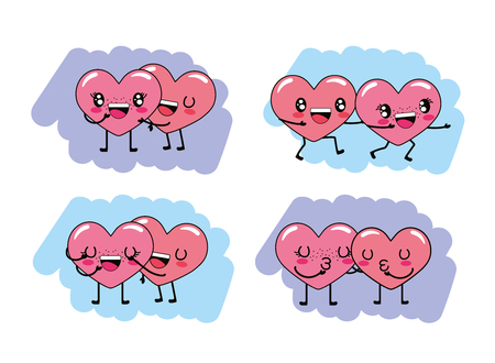 set cute hearts couple with arms and legs character vector illustration