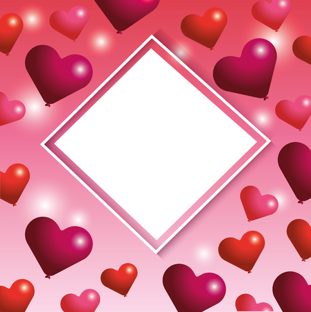 diamond sticker emblem with hearts decoration to valentine event vector illustration Vectores