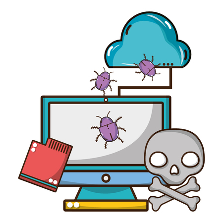 cybersecurity threat and virus protection from bugs cartoon vector illustration graphic design