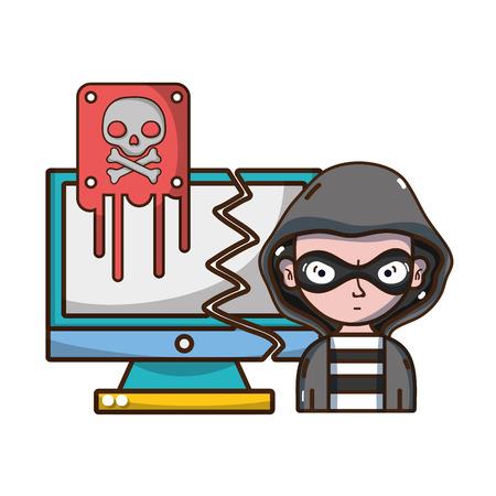 menace de cybersécurité et protection contre les virus de la conception graphique d'illustration vectorielle de dessin animé de pirate