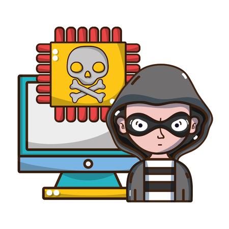 Amenaza de ciberseguridad y protección contra virus del diseño gráfico de ilustración de vector de dibujos animados de piratas informáticos Ilustración de vector