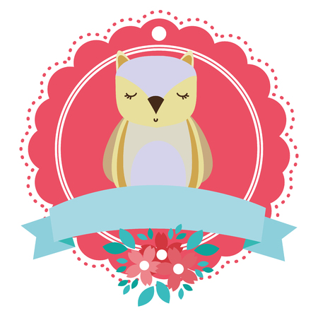 owl round icon with flowers vector illustration graphic design
